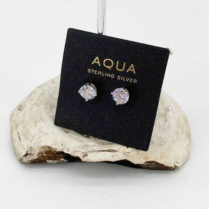 Aqua Sterling Silver Stud Earrings CZ Post Small